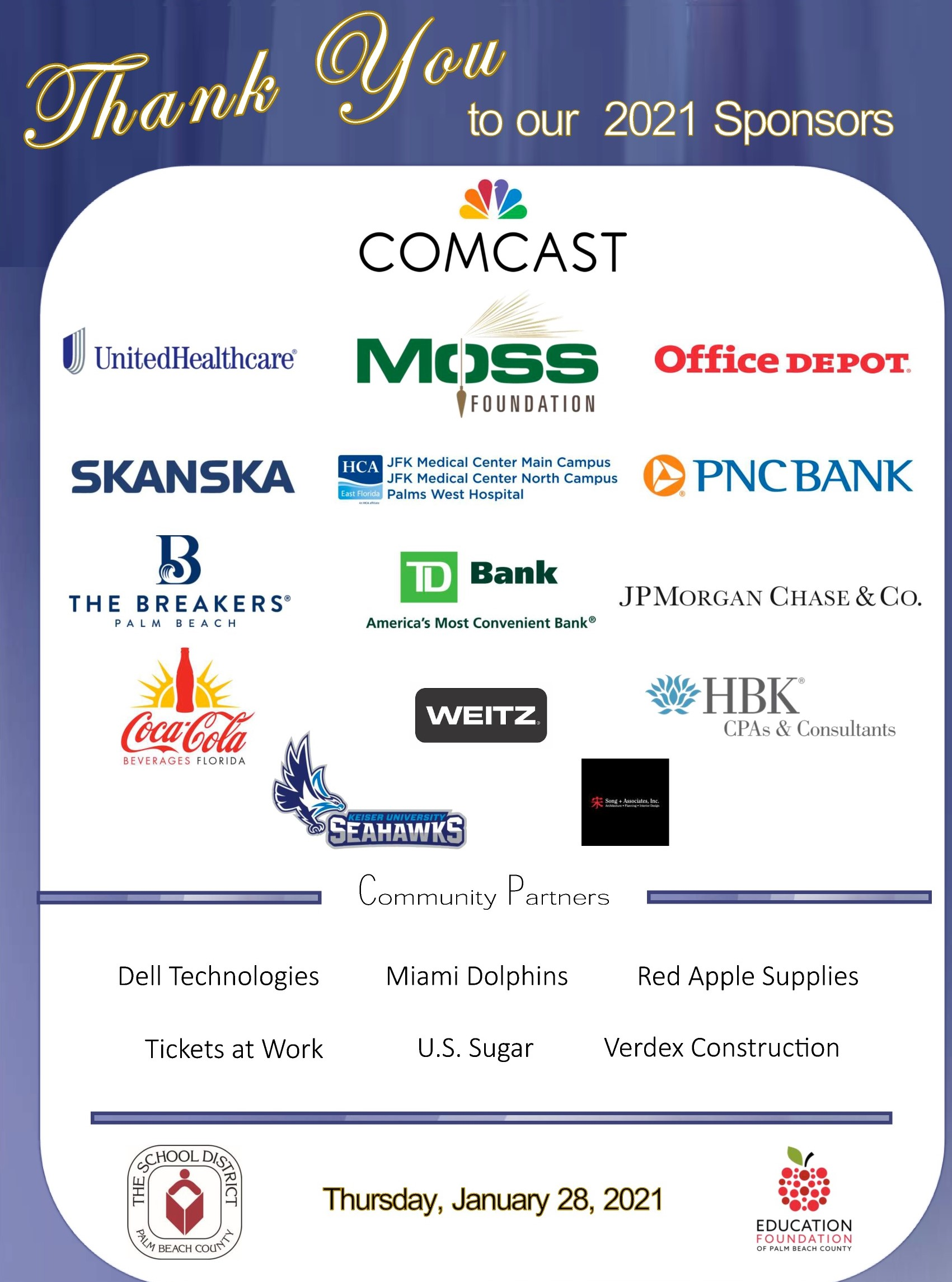 event sponsors for Principal & Assistant Principal of the Year