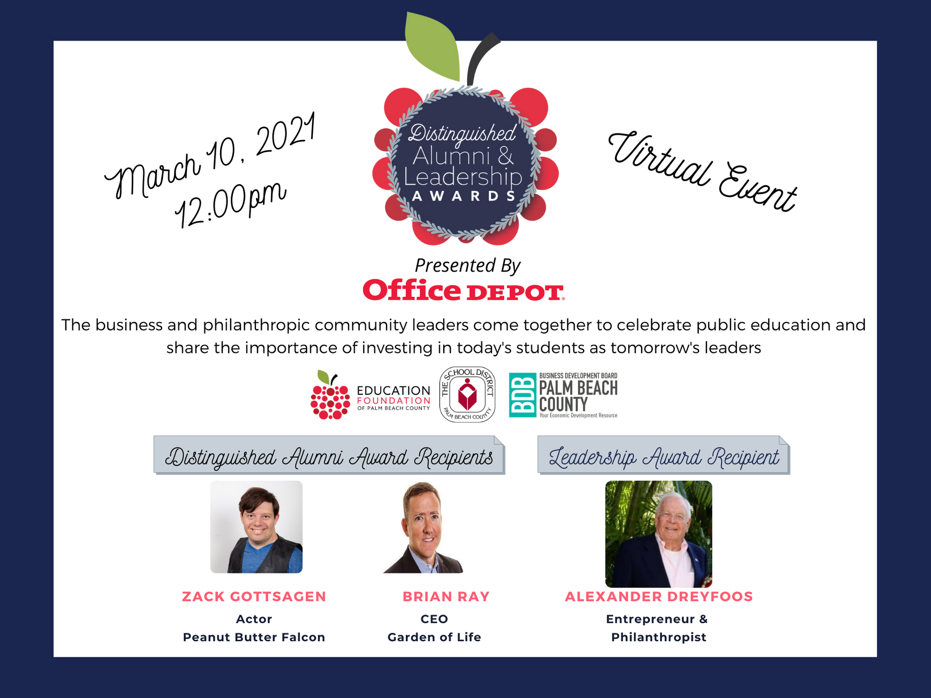 Save the Date, Distinguished Alumni & Leadership Awards, March 10, 2021 12pm, Virtual