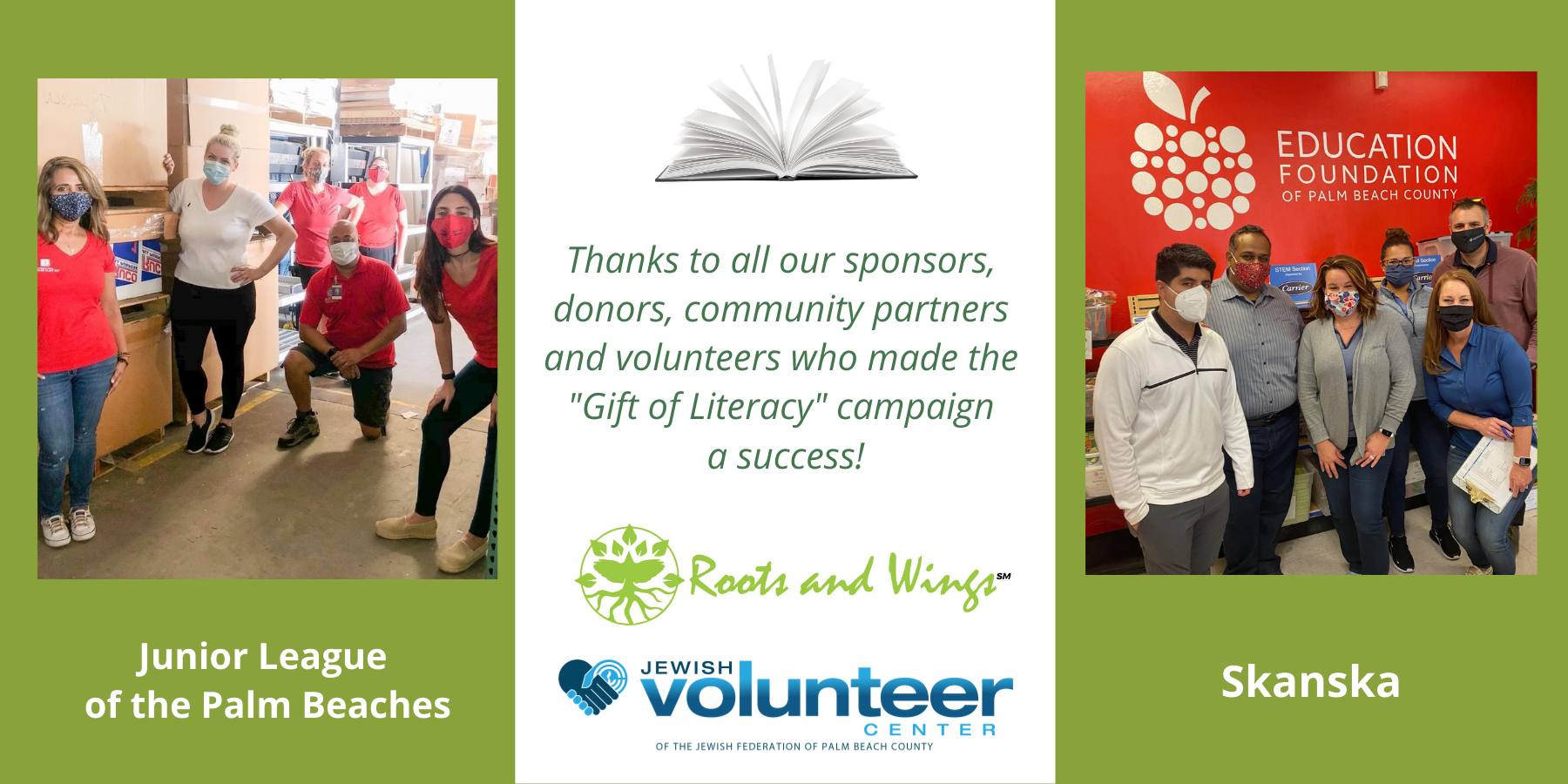 Thank you to sponsors & donors of the Gift of Literacy campaign