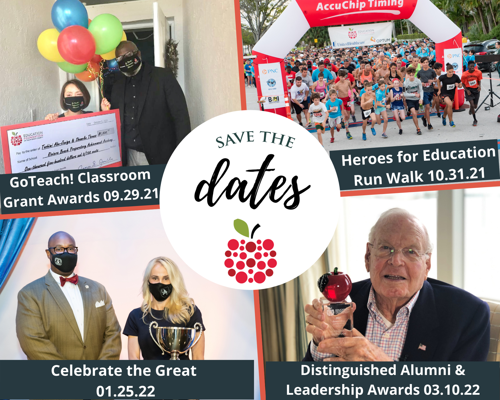 Save the Date for GoTeach (9.29.21), Heroes Run Walk (10.31.21), Celebrate the Great (01.25.22) and Distinguished Alumni & Ldshp Awards (03.10.22)