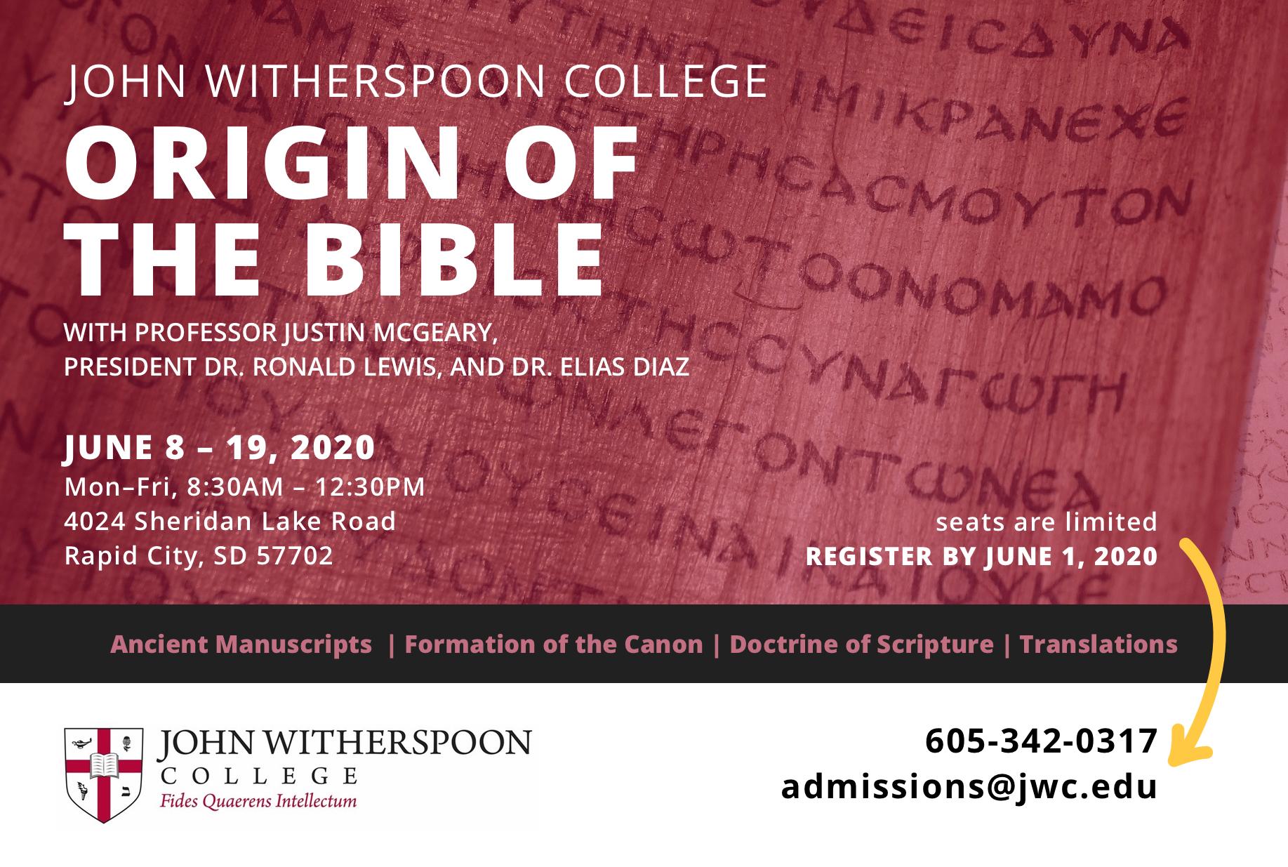 Origin of the Bible Summer Term Class