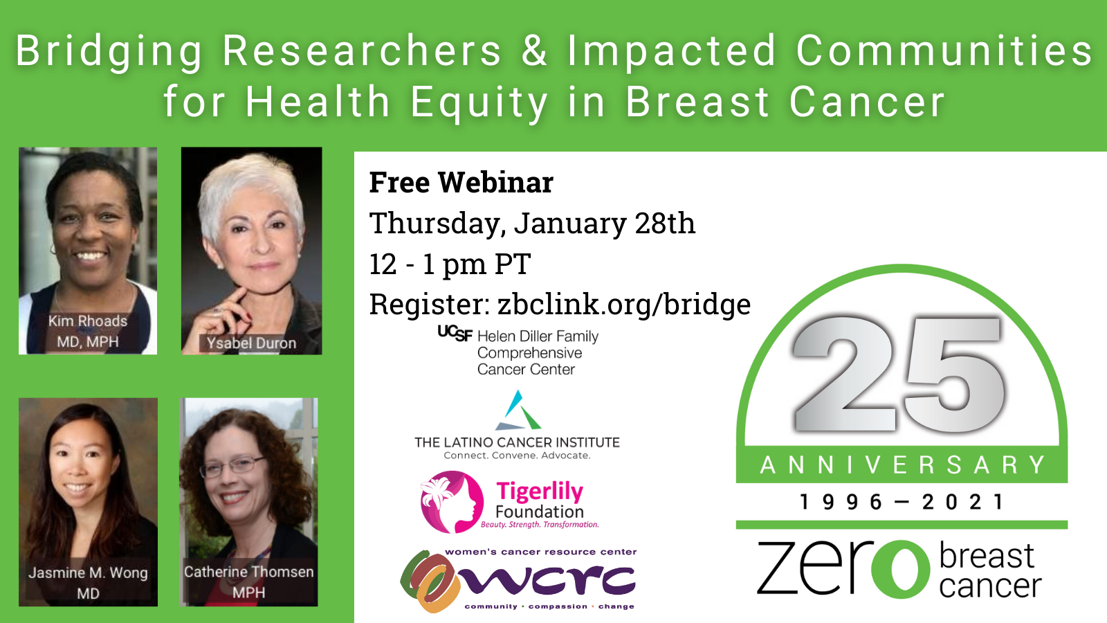 Register for our webinar, Bridging Researchers and Impacted Communities for Health Equity in Breast Cancer!