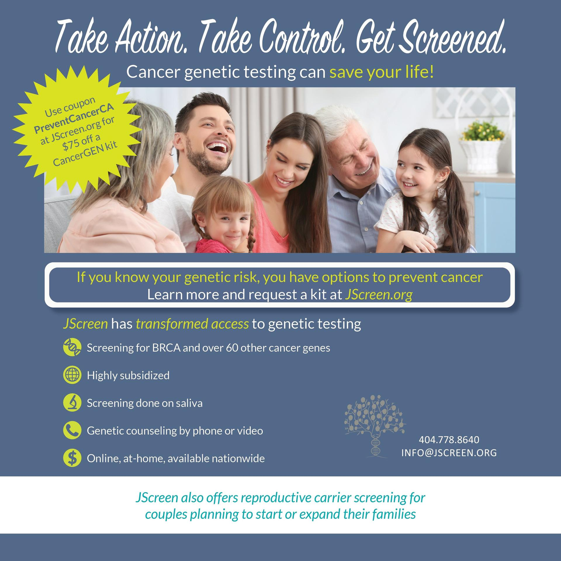 JScreen non-profit genetic counseling CA offer for $75 off with code PreventCancerCA